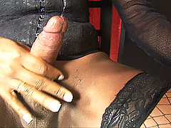 Big cock black shemale shows off in lingerie